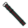Premium Nato Strap in Green Red with PVD Black Buckle (20mm) - Nomad watch Works