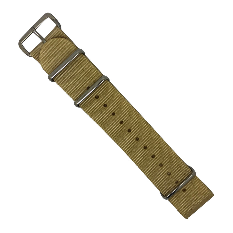 Premium Nato Strap in Malt with Polished Silver Buckle (22mm) - Nomad watch Works