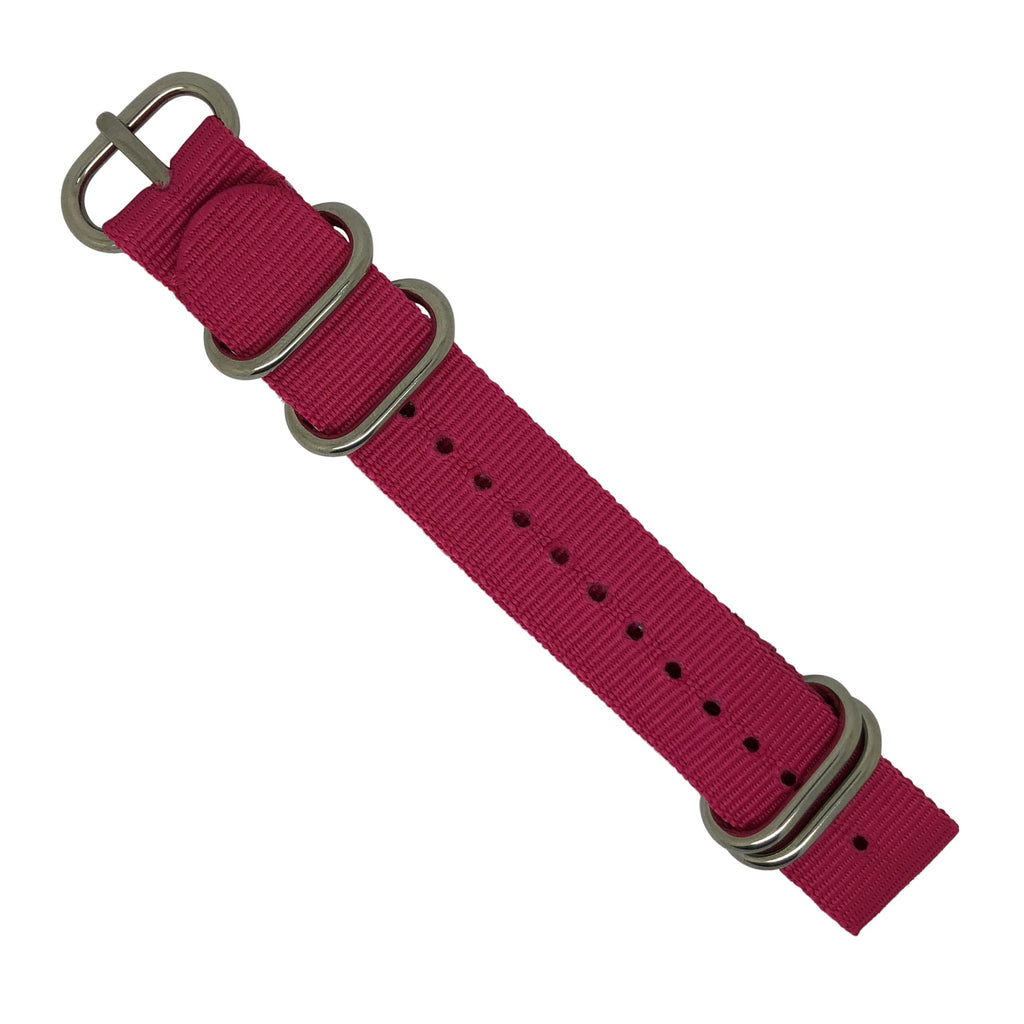 Nylon Zulu Strap in Pink with Silver Buckle (24mm) - Nomad watch Works