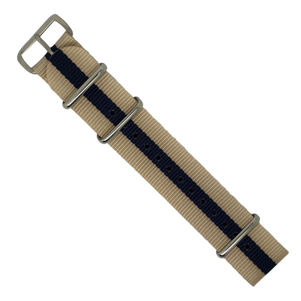 Premium Nato Strap in Biege Navy with Polished Silver Buckle (22mm) - Nomad watch Works