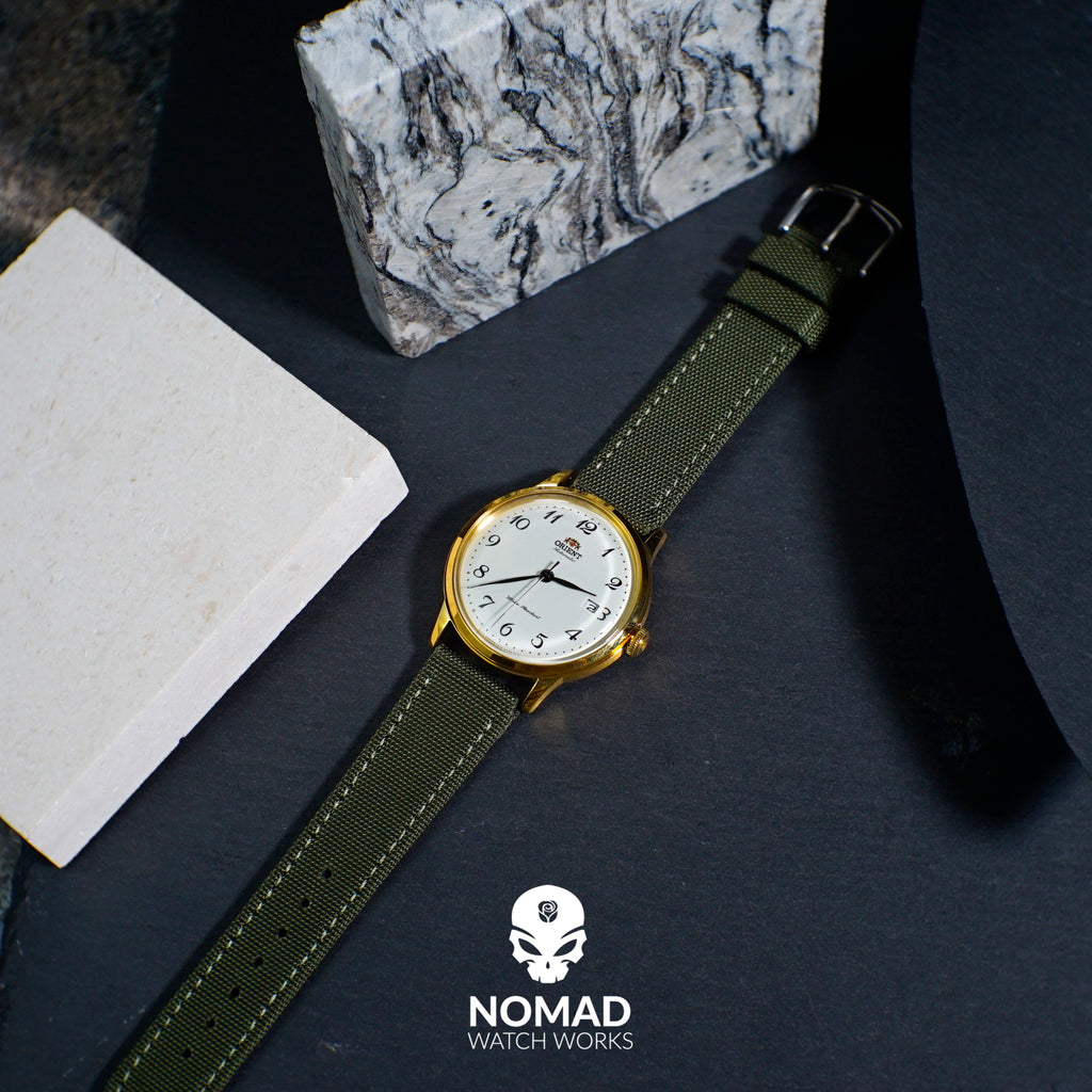 Canvas Watch Strap in Olive with Silver Buckle (24mm) - Nomadstore Singapore