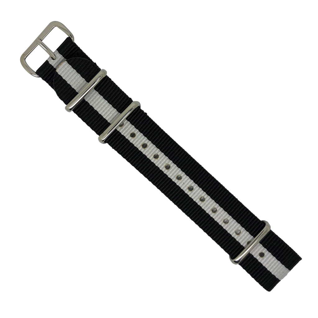 Premium Nato Strap in Black White with Polished Silver Buckle (20mm) - Nomad watch Works