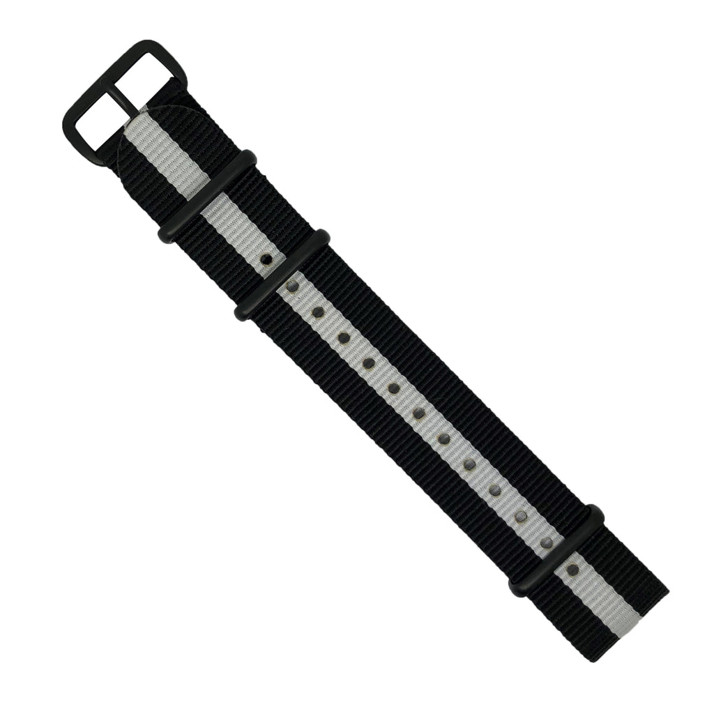 Premium Nato Strap in Black White with PVD Black Buckle (20mm) - Nomad watch Works