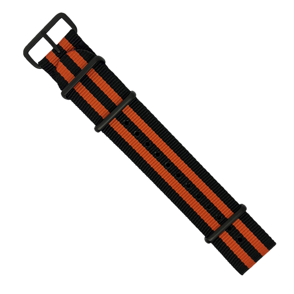 Premium Nato Strap in Black Orange Small Stripes with PVD Black Buckle (22mm) - Nomad watch Works