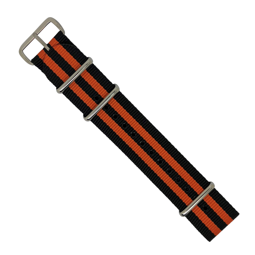 Premium Nato Strap in Black Orange Small Stripes with Polished Silver Buckle (22mm) - Nomad watch Works