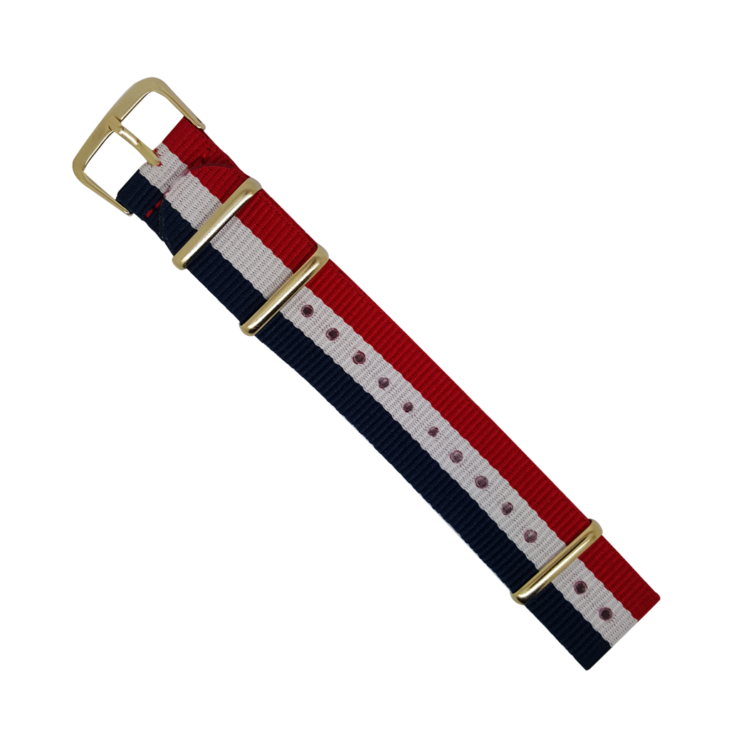Nato Strap in Navy White Red with Gold Buckle (20mm) - Nomadstore Singapore