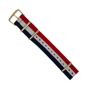 Nylon Nato Strap in Navy White Red with Yellow Gold Buckle (20mm) - Nomad watch Works
