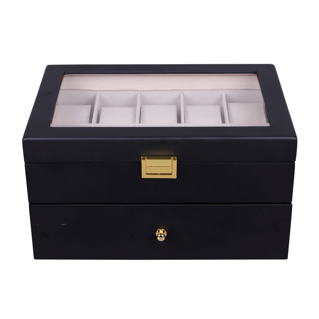 Wooden Watch Box in Black (20 Watch Slots)
