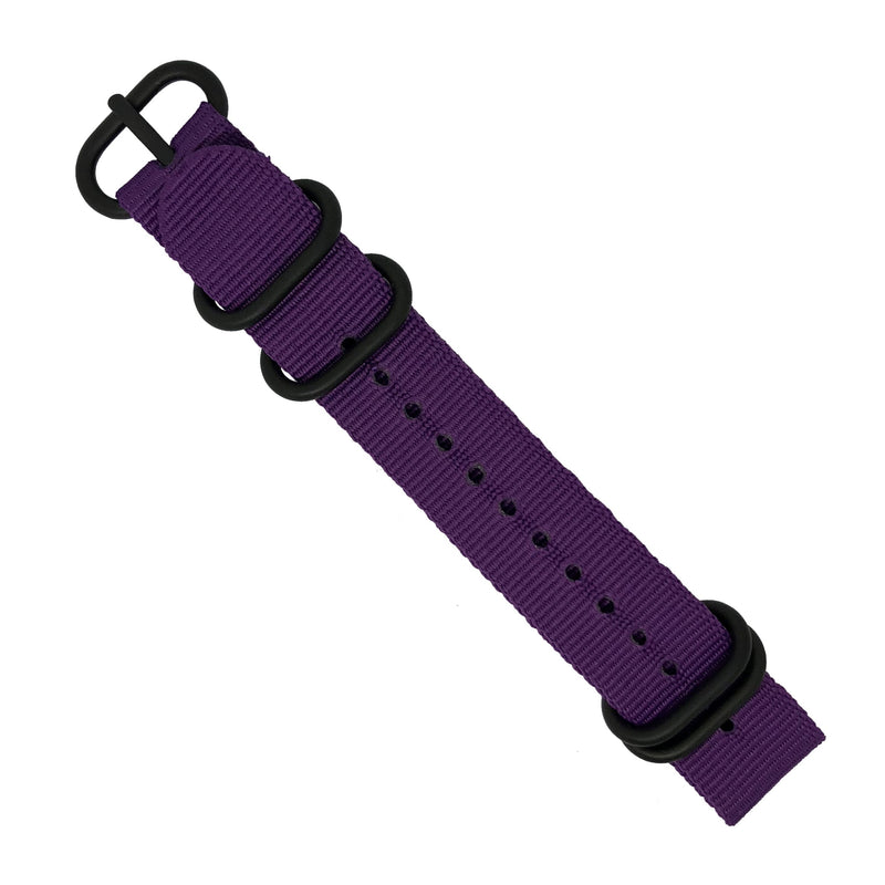Nylon Zulu Strap in Purple with Black Buckle (24mm) - Nomad watch Works