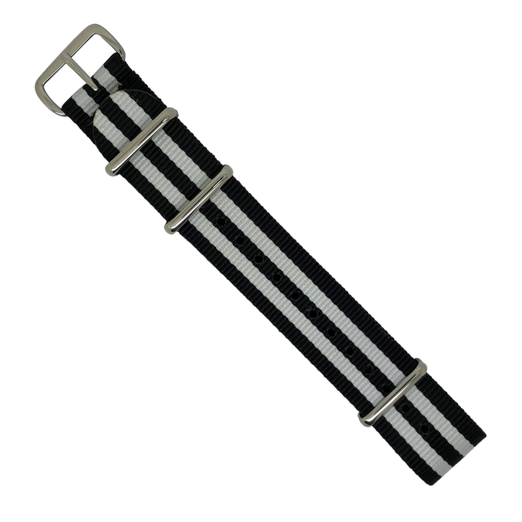 Premium Nato Strap in Black White Small Stripes with Polished Silver Buckle (20mm) - Nomad watch Works