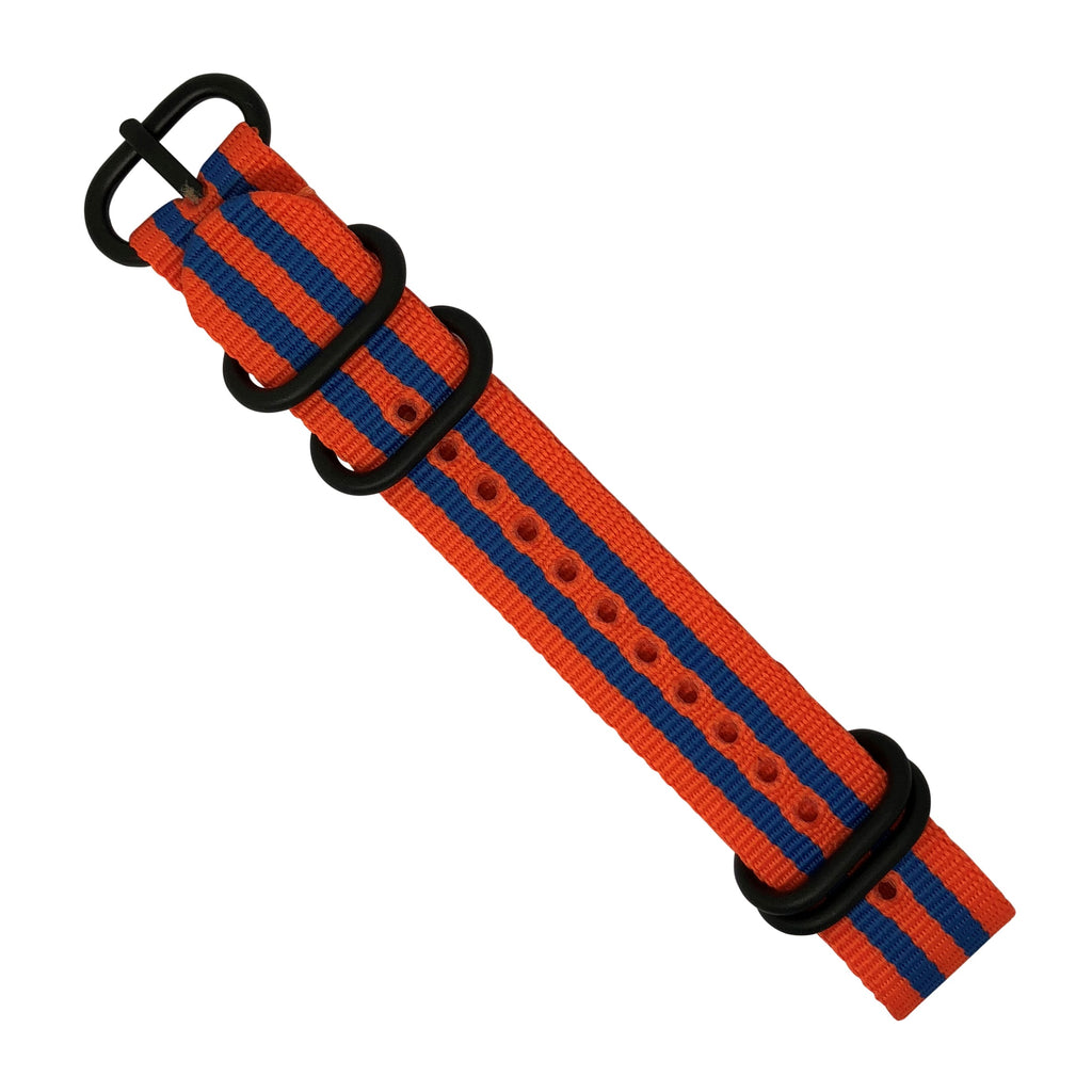 Nylon Zulu Strap in Orange Blue Small Stripes with Black Buckle (20mm) - Nomad watch Works