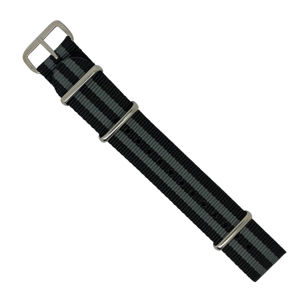 Premium Nato Strap in Black Grey (James Bond) with Polished Silver Buckle (24mm)