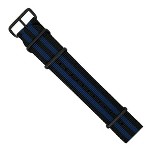Premium Nato Strap in Black Blue Small Stripes with PVD Black Buckle (22mm) - Nomad watch Works
