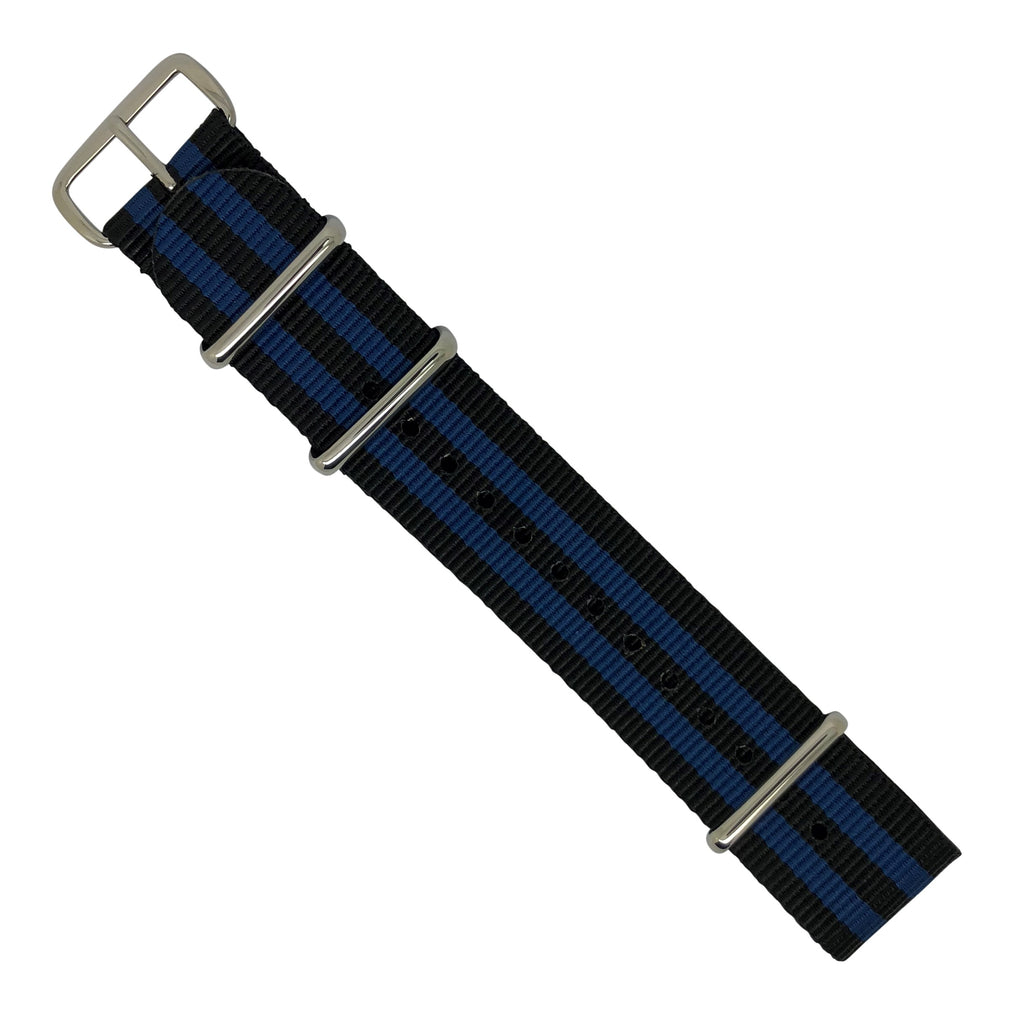 Premium Nato Strap in Black Blue Small Stripes with Polished Silver Buckle (22mm) - Nomad watch Works