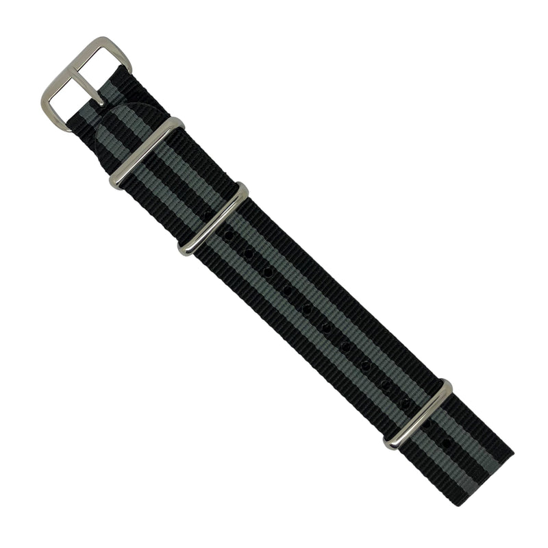 Premium Nato Strap in Black Grey (James Bond) with Polished Silver Buckle (18mm) - Nomad watch Works