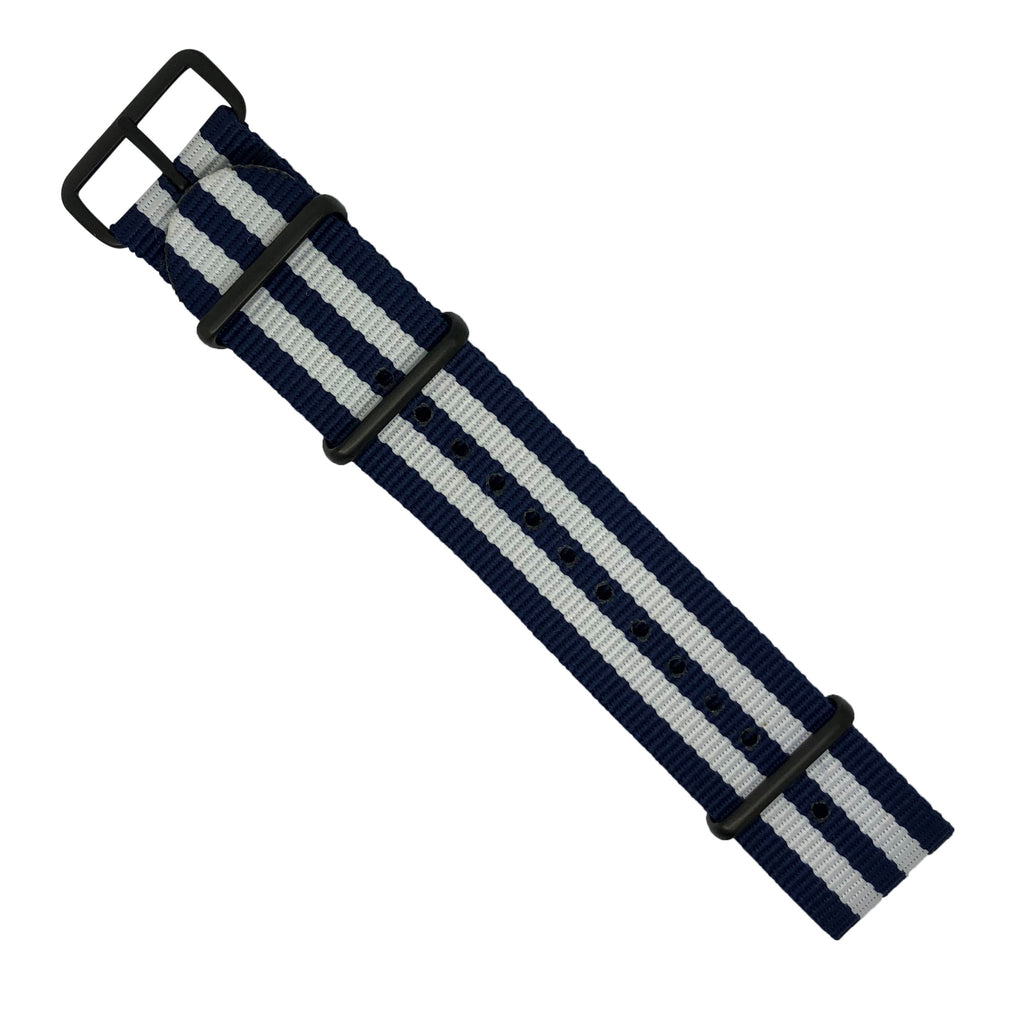 Premium Nato Strap in Navy White Small Stripes with PVD Black Buckle (22mm)