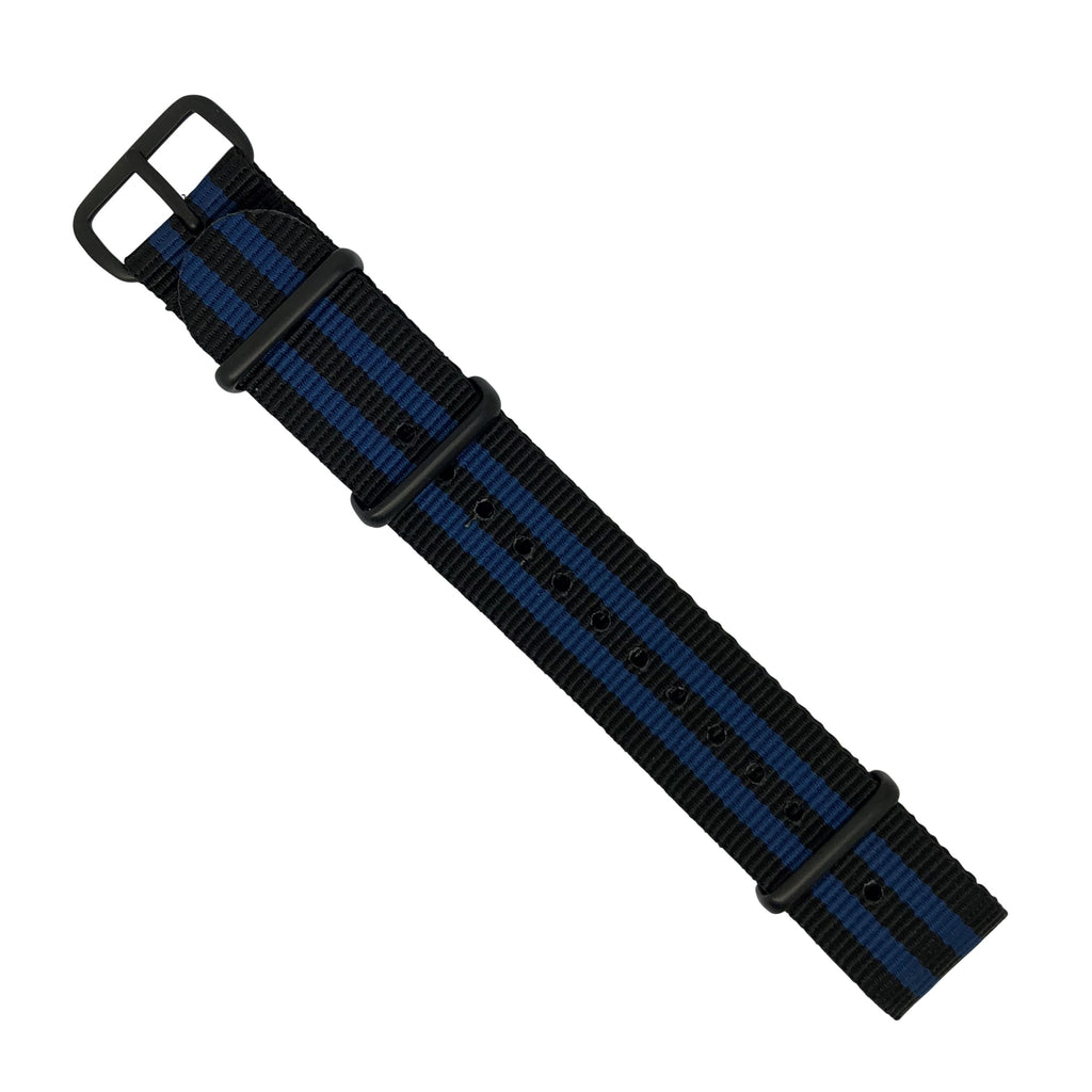 Premium Nato Strap in Black Blue Small Stripes with PVD Black Buckle (20mm) - Nomad watch Works