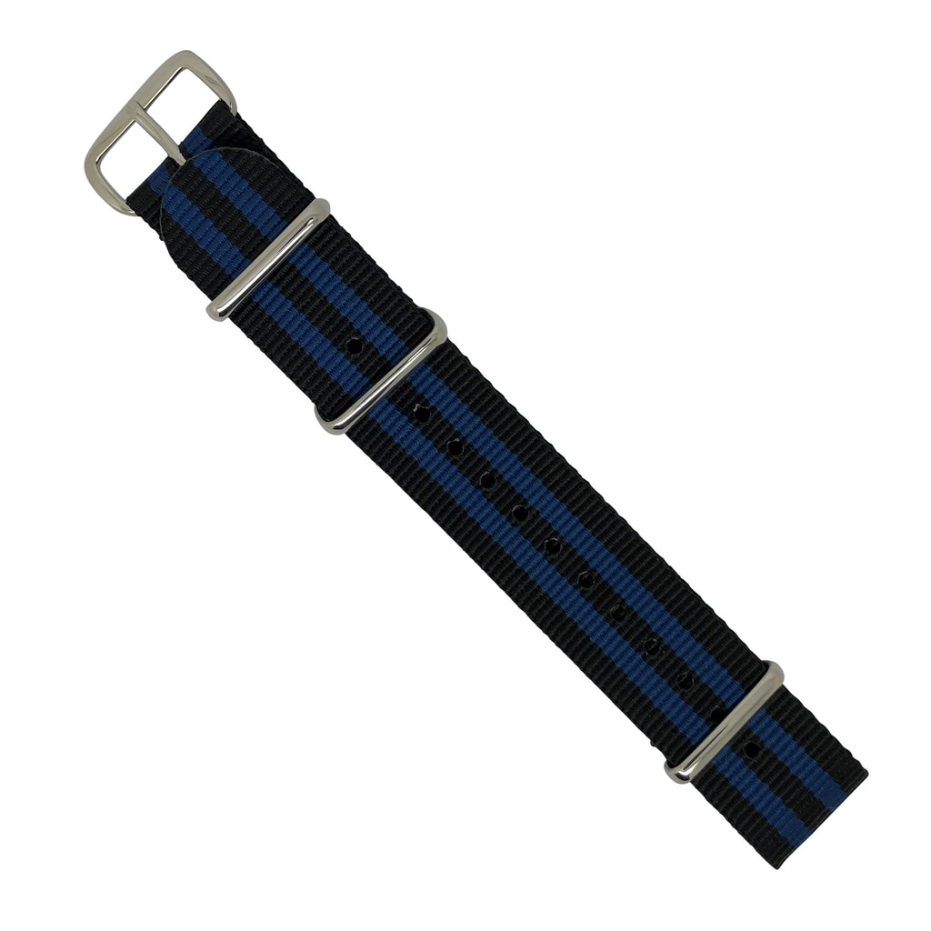 Premium Nato Strap in Black Blue Small Stripes with Polished Silver Buckle (20mm) - Nomadstore Singapore