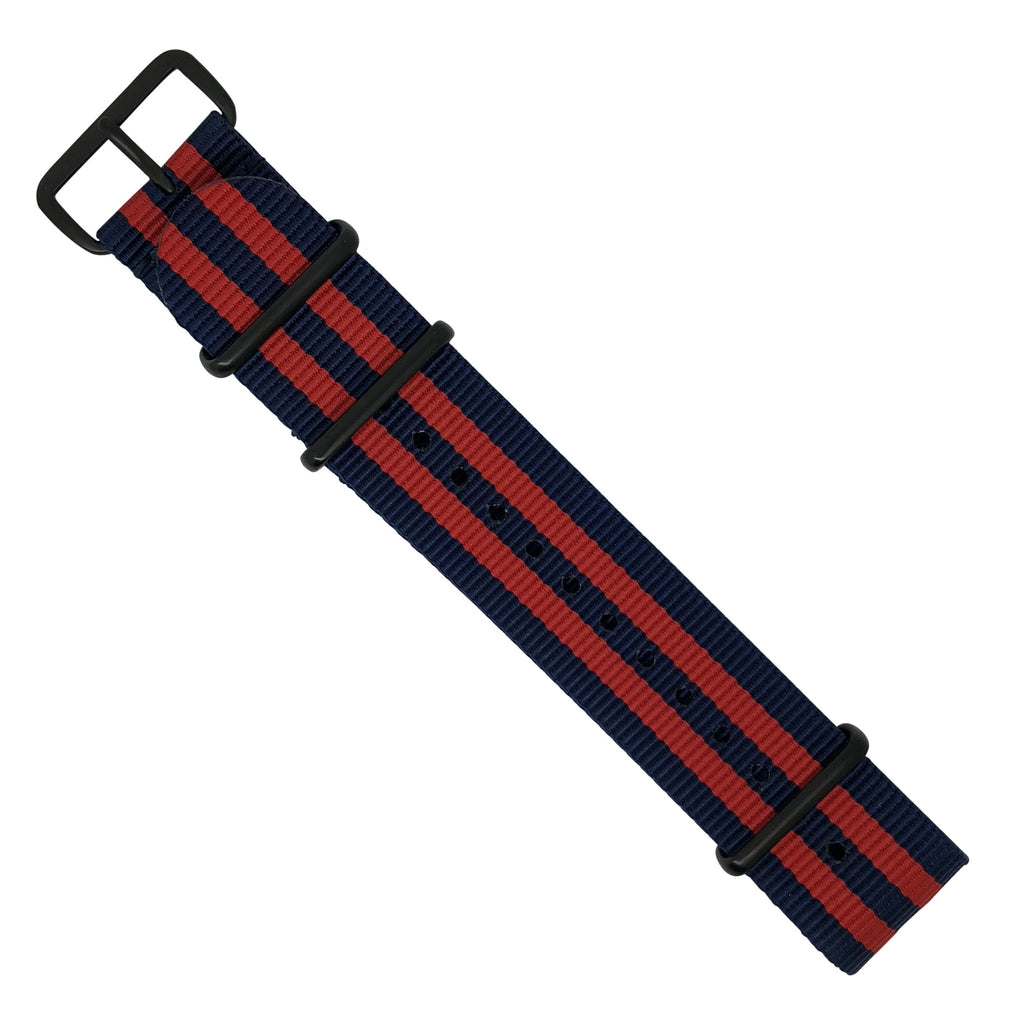Premium Nato Strap in Navy Red Small Stripes with PVD Black Buckle (22mm)