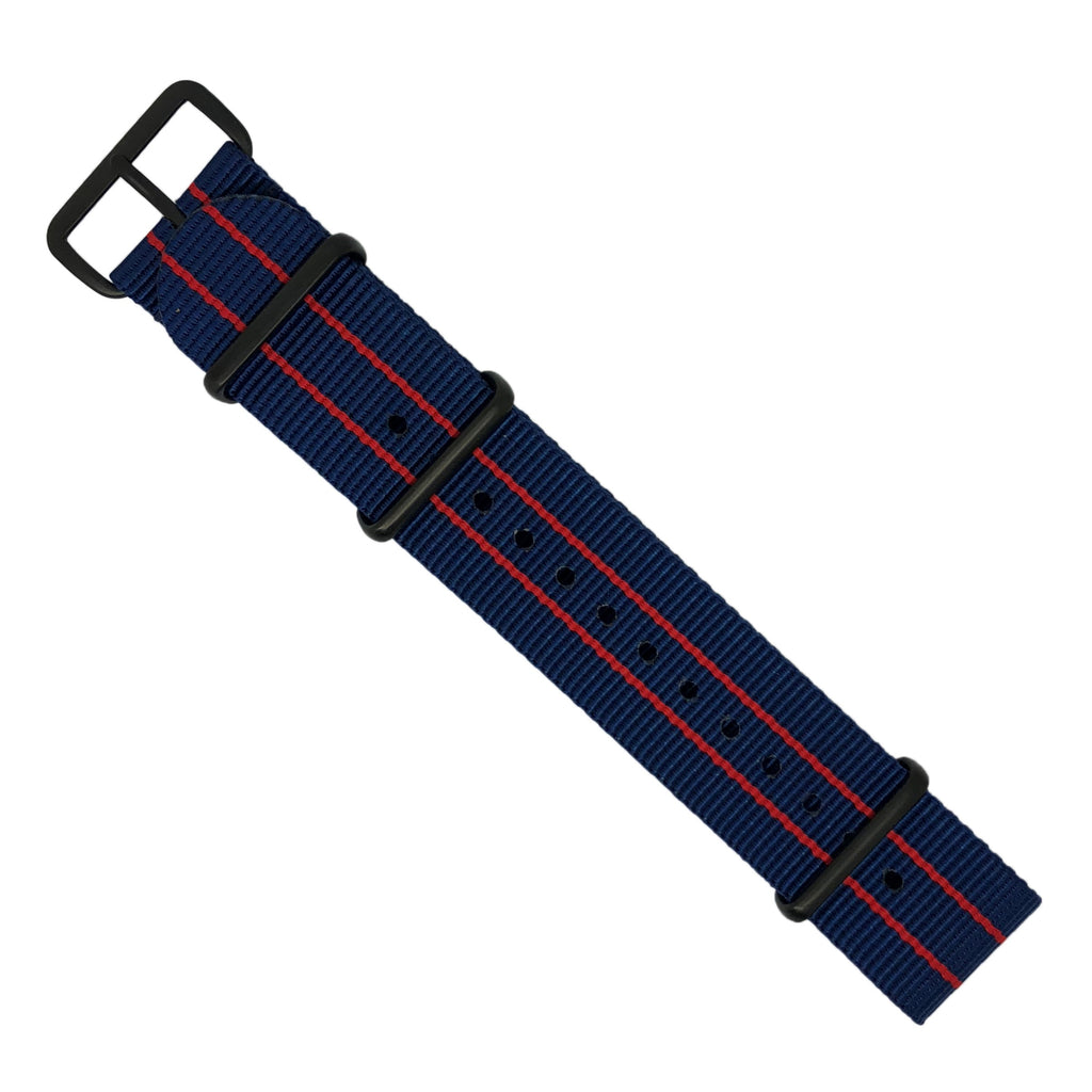 Premium Nato Strap in Blue Double Red with PVD Black Buckle (22mm)