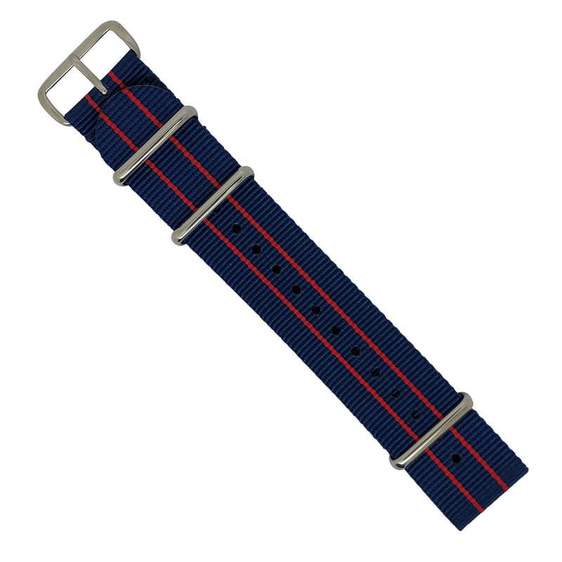 Premium Nato Strap in Blue Double Red with Polished Silver Buckle (22mm) - Nomad watch Works