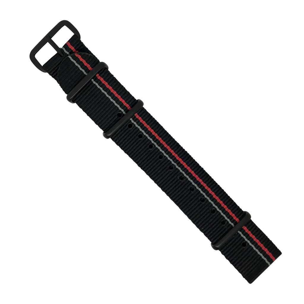 Premium Nato Strap in Black Blue Red Small Stripes with PVD Black Buckle (20mm) - Nomadstore Singapore