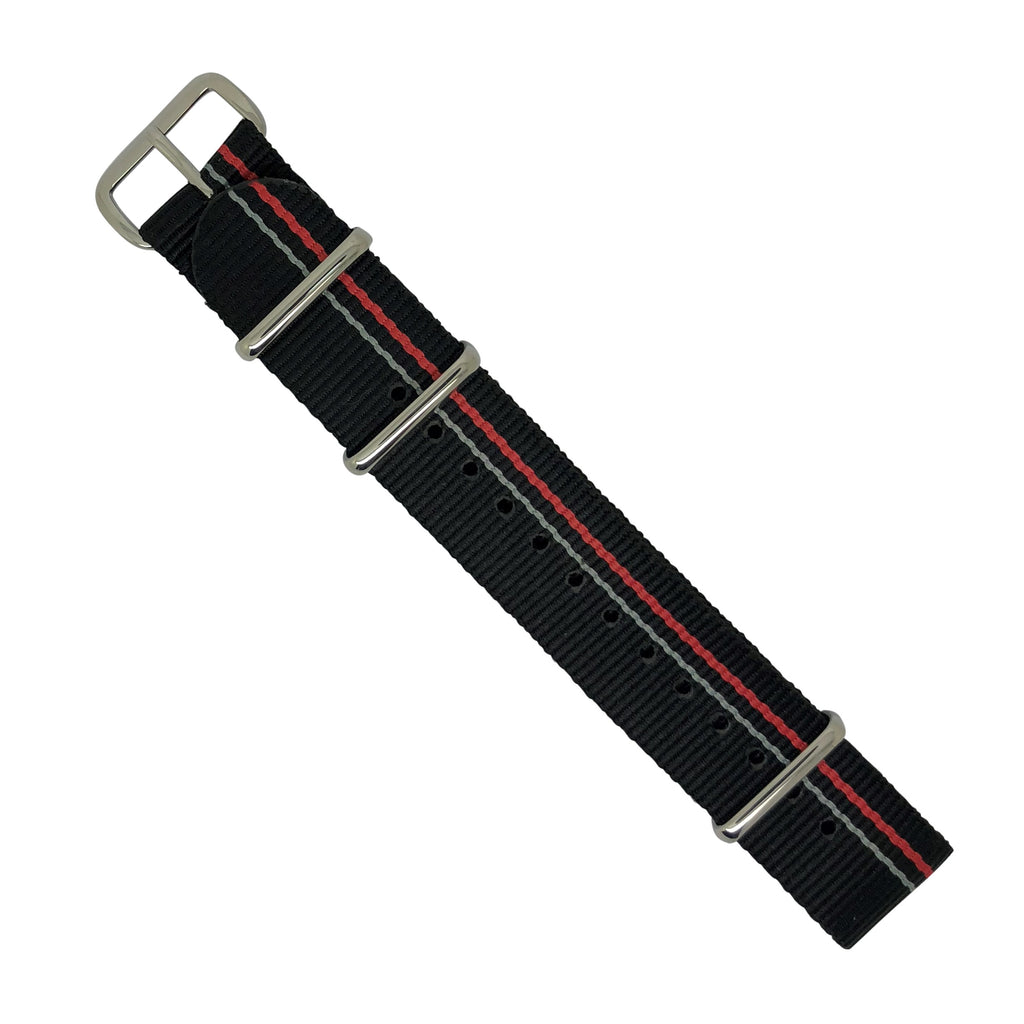 Premium Nato Strap in Black Blue Red Small Stripes with Polished Silver Buckle (20mm) - Nomad watch Works