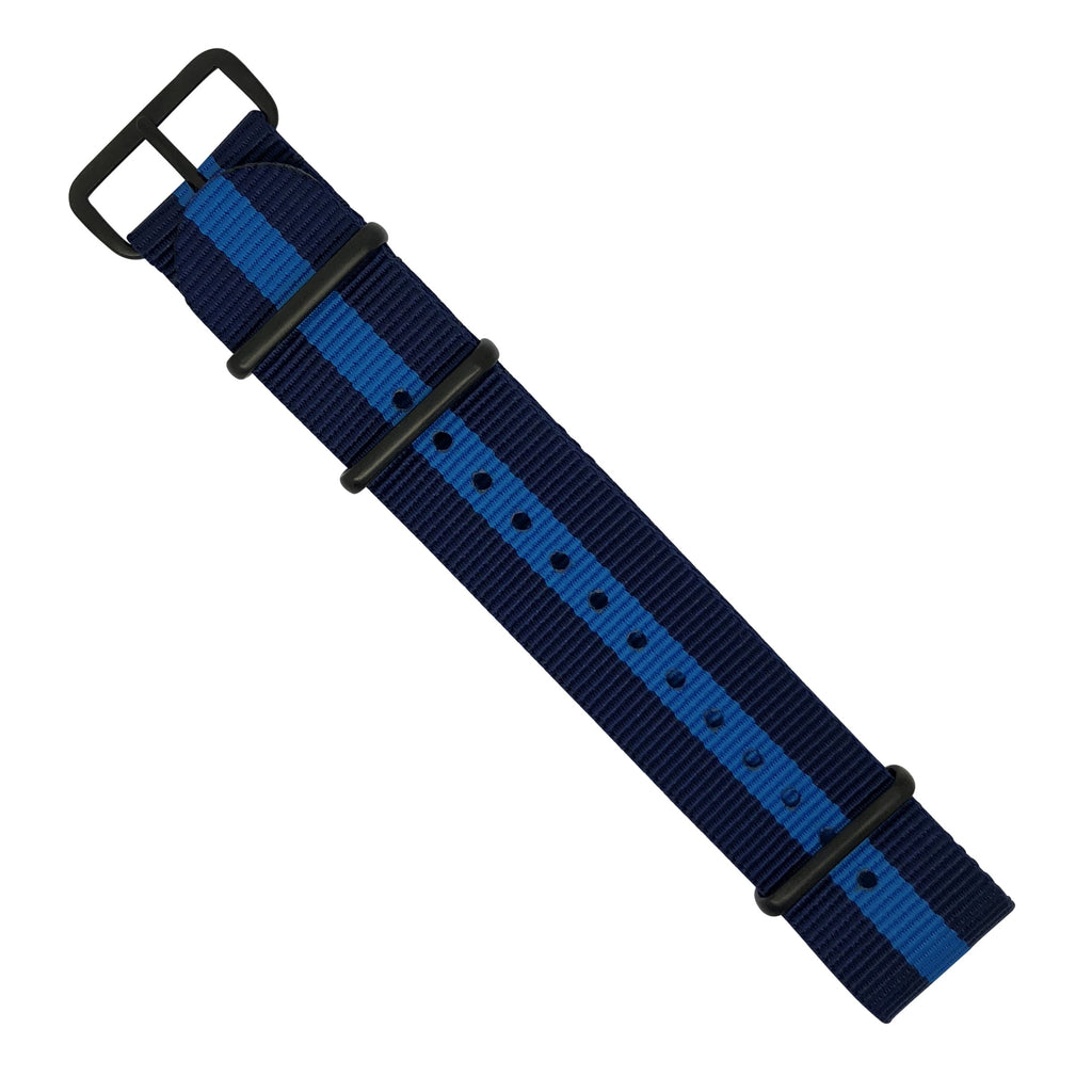 Premium Nato Strap in Navy Blue with PVD Black Buckle (22mm)