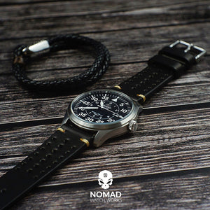 Premium Rally Leather Watch Strap in Black (18mm) - Nomad watch Works