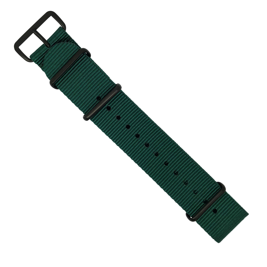 Premium Nato Strap in Forest Green with PVD Black Buckle (22mm)