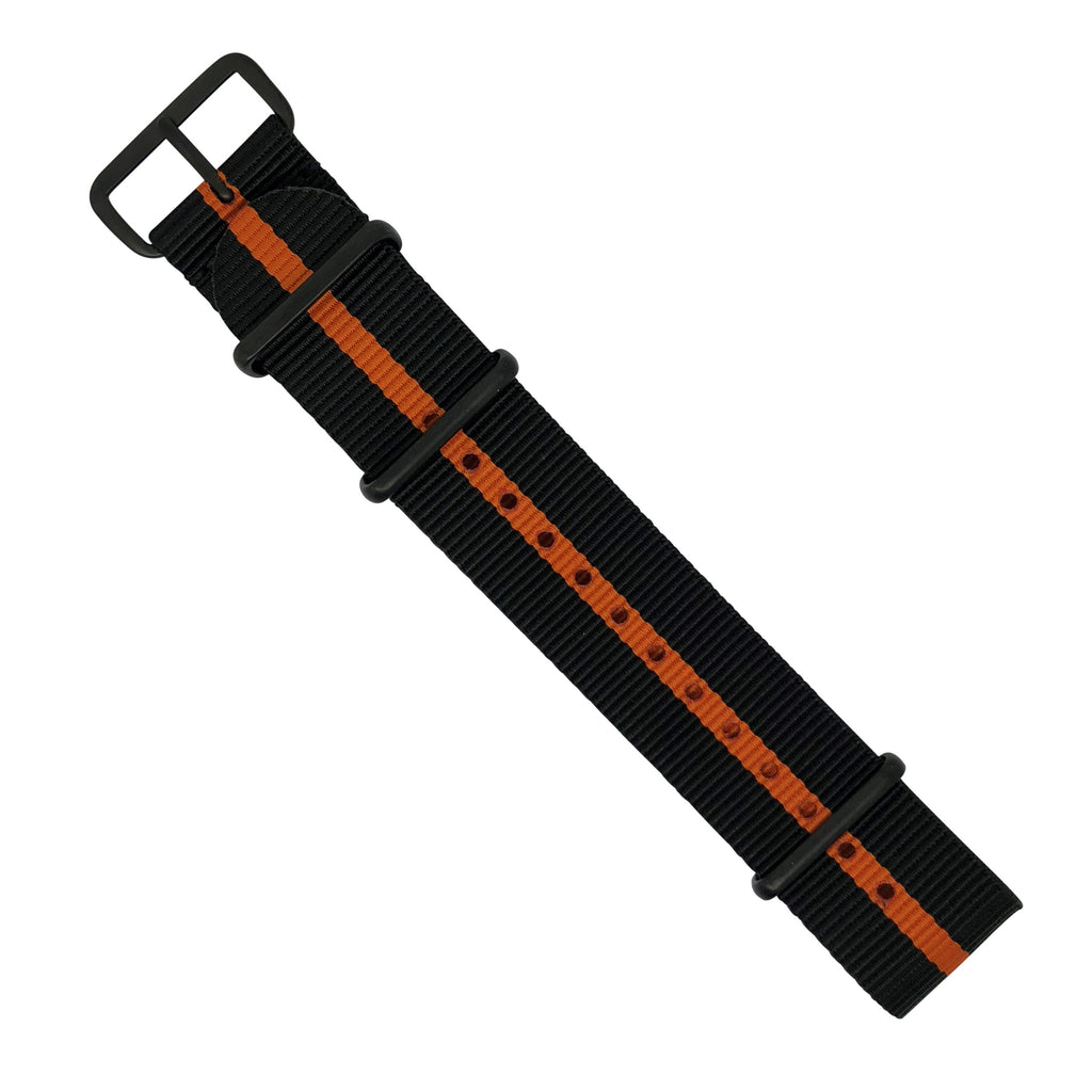 Premium Nato Strap in Black Orange with PVD Black Buckle (22mm) - Nomad watch Works
