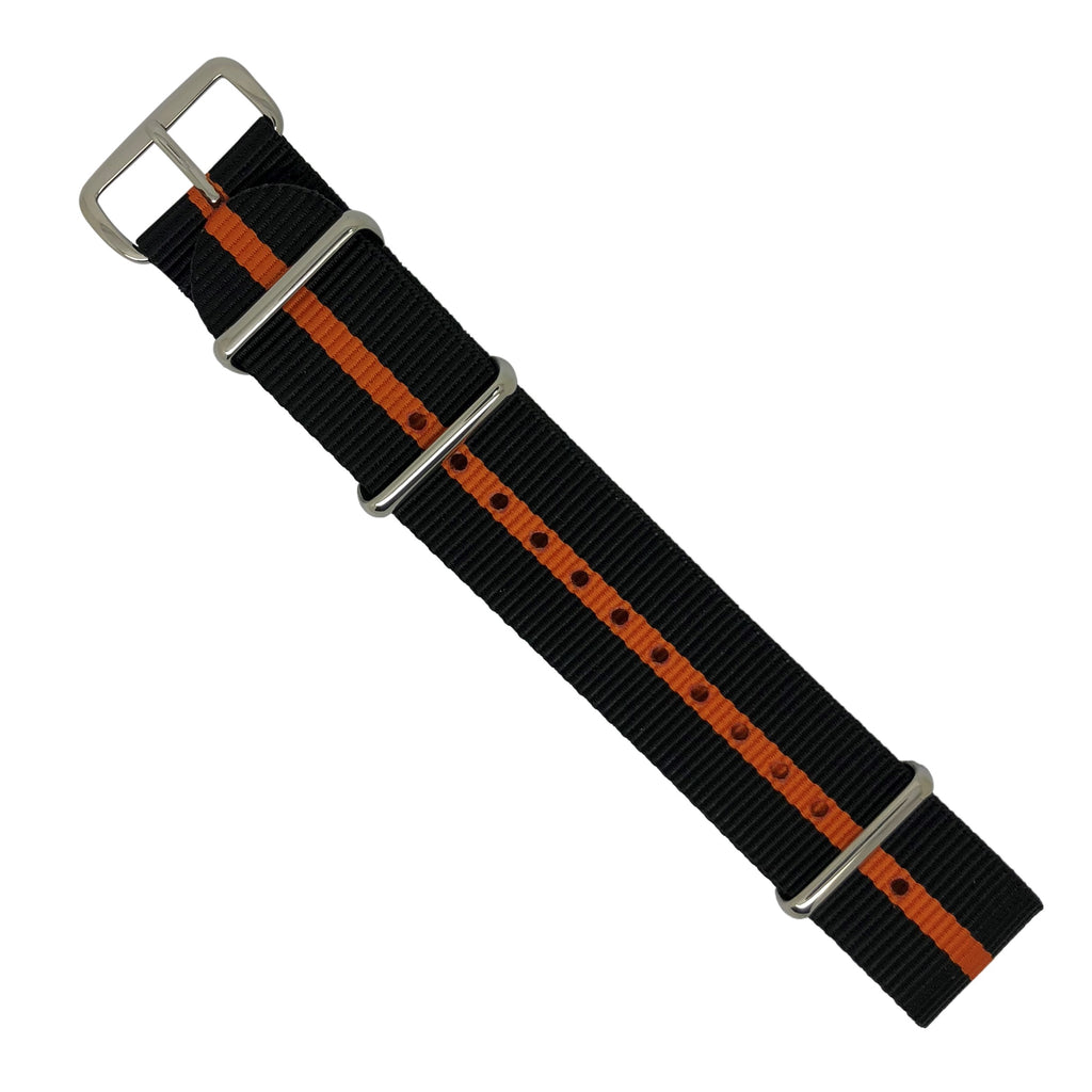 Premium Nato Strap in Black Orange with Polished Silver Buckle (22mm) - Nomad watch Works