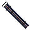Premium Nato Strap in Navy White Red (Crest) with PVD Black Buckle (22mm) - Nomad watch Works