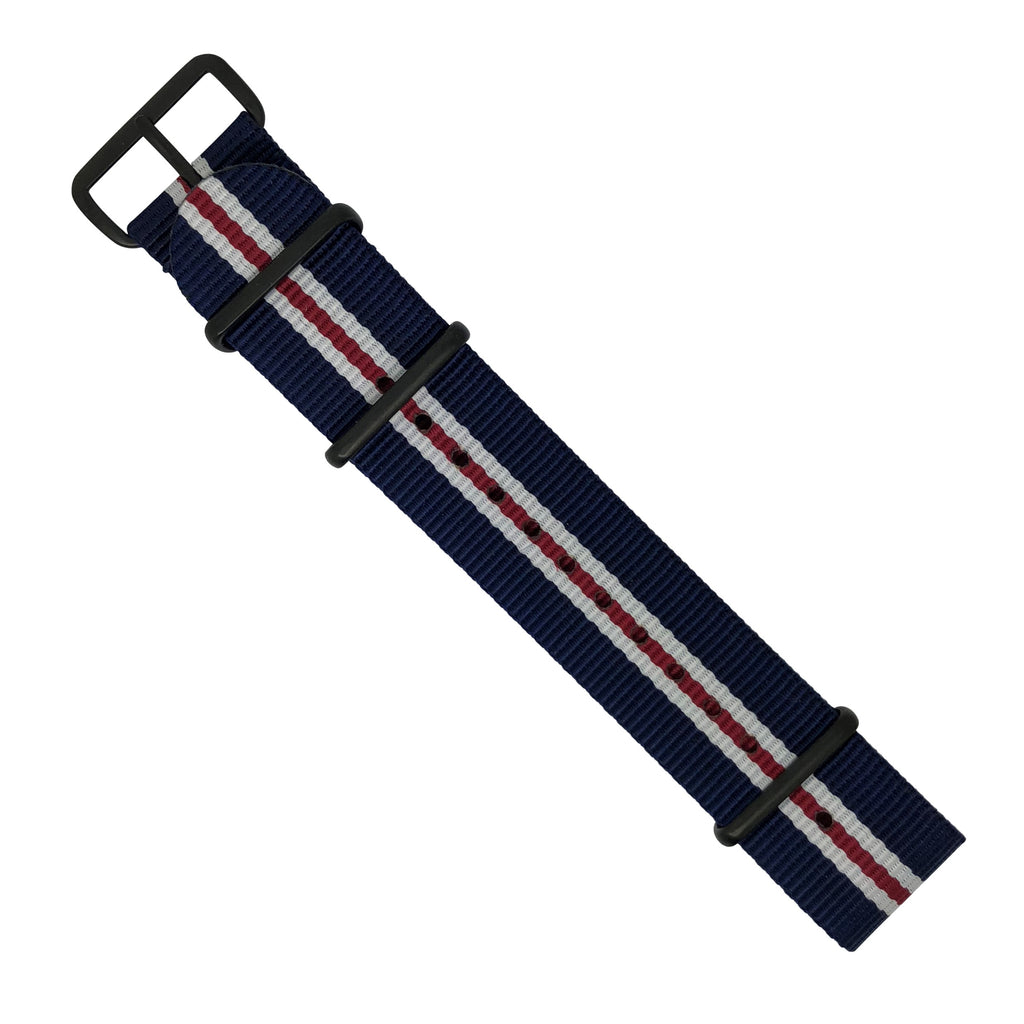 Premium Nato Strap in Navy White Red (Crest) with PVD Black Buckle (22mm)