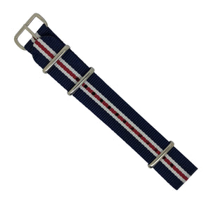 Premium Nato Strap in Navy White Red (Crest) with Polished Silver Buckle (20mm) - Nomad watch Works