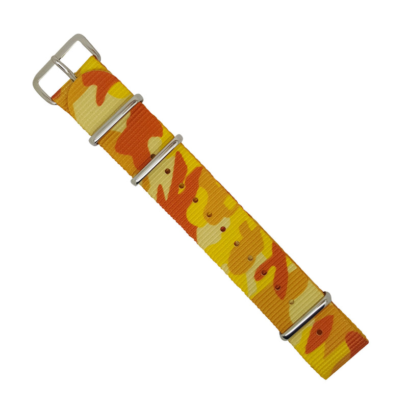 Nylon Nato Strap in Orange/Yellow Camo with Silver Buckle (20mm) - Nomad watch Works