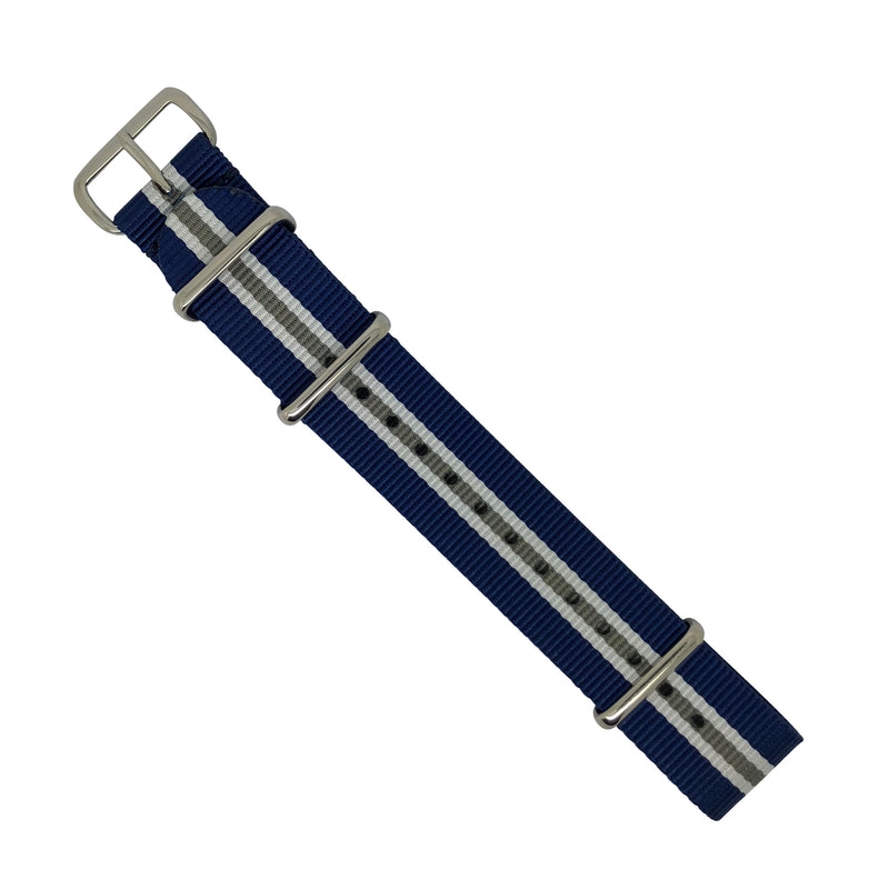 Premium Nato Strap in Navy White Grey (Crest) with Polished Silver Buckle (20mm) - Nomad watch Works