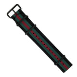 Premium Nato Strap in Black Green Red with PVD Black Buckle (22mm)