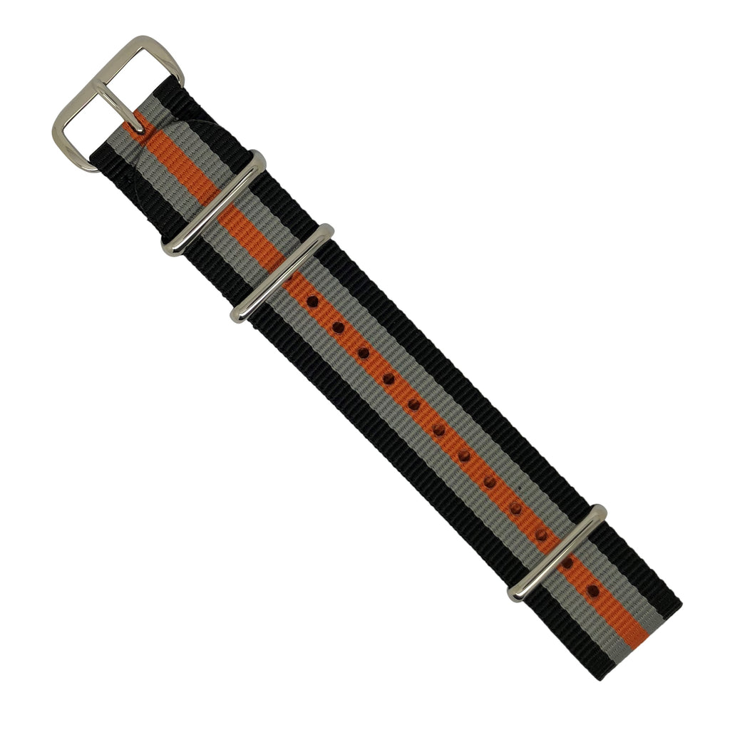 Premium Nato Strap in Black Grey Orange with Polished Silver Buckle (22mm)