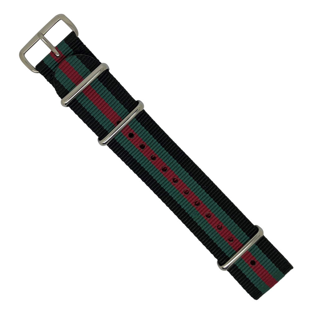 Premium Nato Strap in Black Green Red with Polished Silver Buckle (22mm)