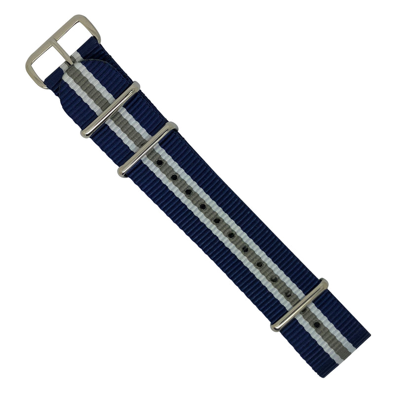 Premium Nato Strap in Navy White Grey (Crest) with Polished Silver Buckle (22mm) - Nomad watch Works