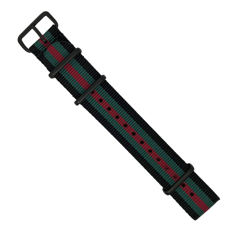 Premium Nato Strap in Black Green Red with PVD Black Buckle (20mm) - Nomad watch Works