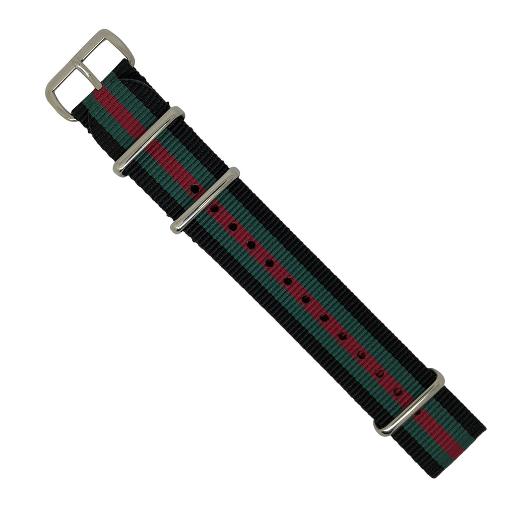 Premium Nato Strap in Black Green Red with Polished Silver Buckle (20mm) - Nomad watch Works