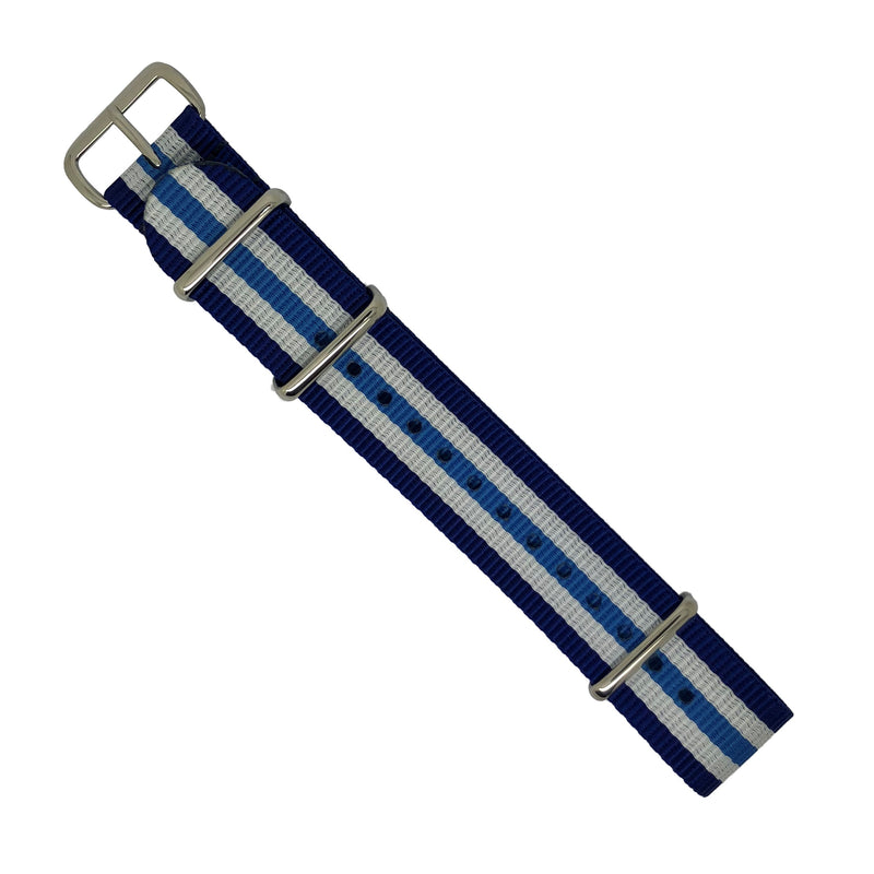 Premium Nato Strap in Regimental Blue with Polished Silver Buckle (20mm) - Nomad watch Works