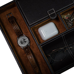 Leather Valet Tray in Brown - Nomad watch Works