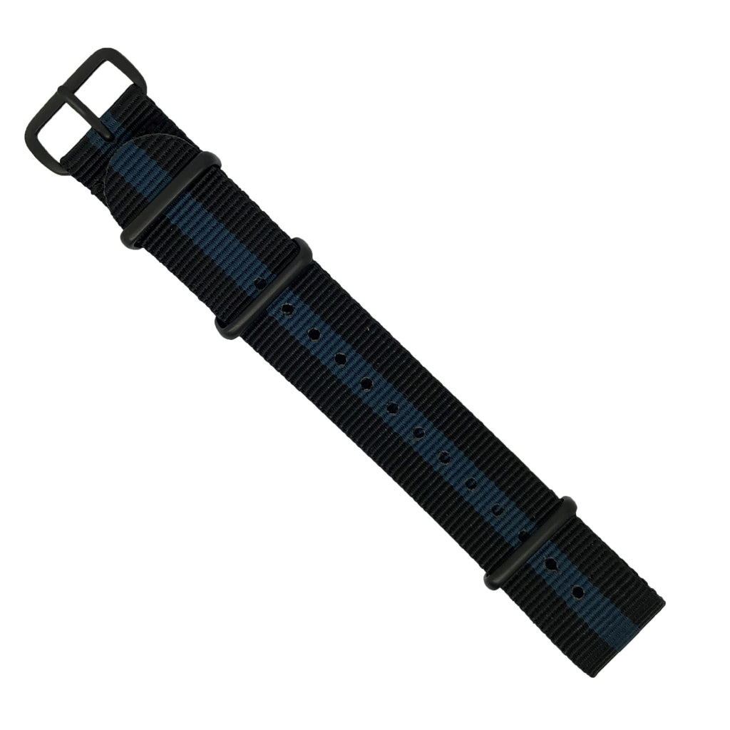 Premium Nato Strap in Black Blue with PVD Black Buckle (20mm) - Nomad watch Works
