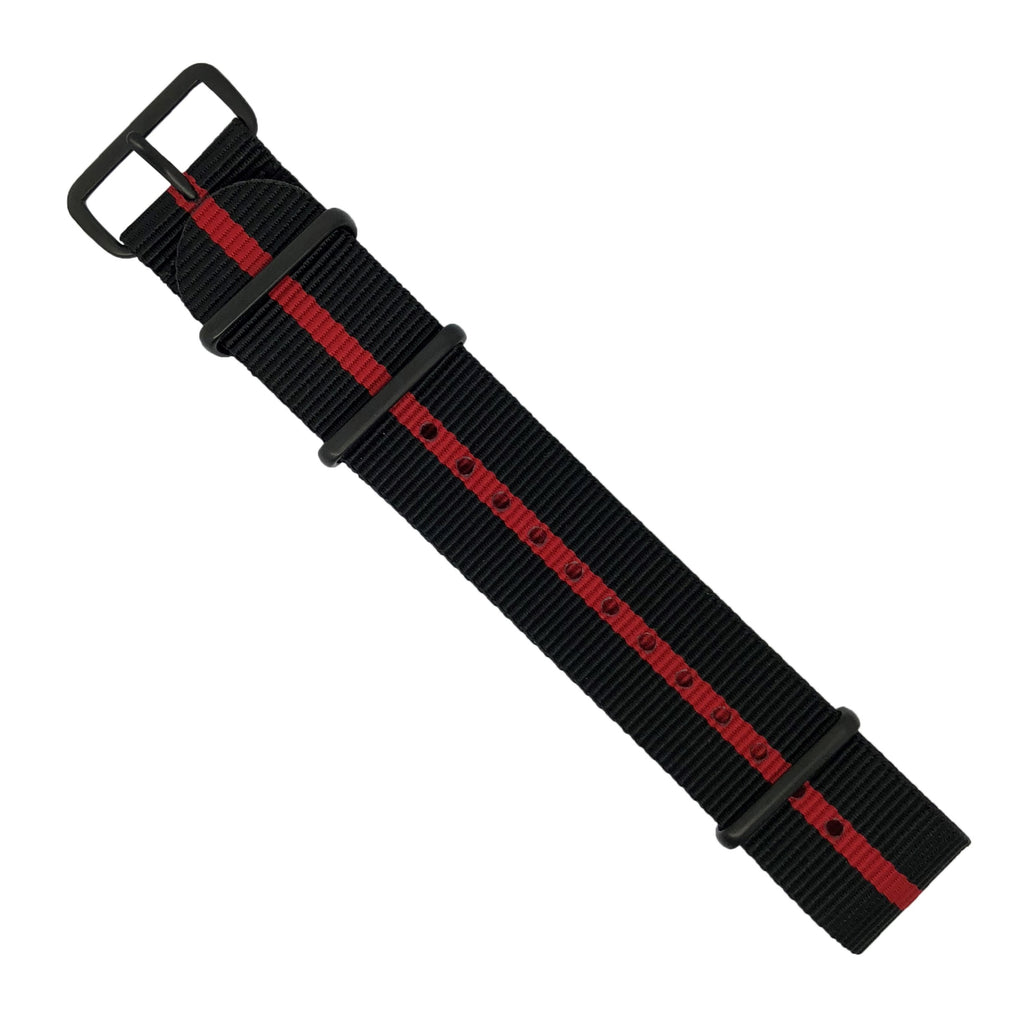 Premium Nato Strap in Black Center Red with PVD Black Buckle (22mm)