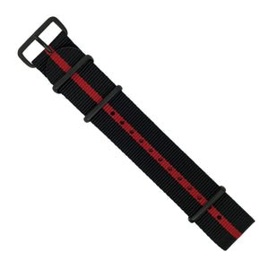 Premium Nato Strap in Black Center Red with PVD Black Buckle (22mm) - Nomad watch Works