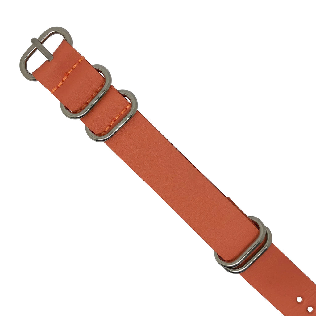 PU Leather Zulu Strap in Orange with Silver Buckle (24mm)