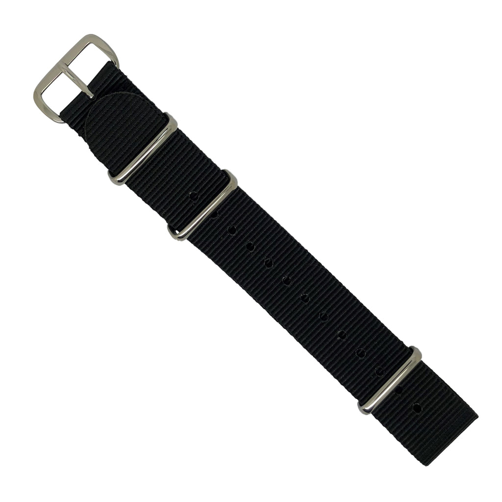 Premium Nato Strap in Black with Polished Silver Buckle (18mm) - Nomad watch Works